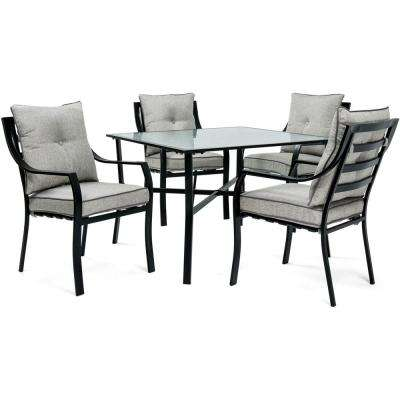 Lavallette Black Steel 5-Piece Outdoor Dining Set with Silver Linings Cushions