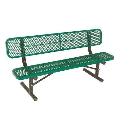 6 ft. Diamond Green Commercial Park Portable Bench with Back Surface Mount