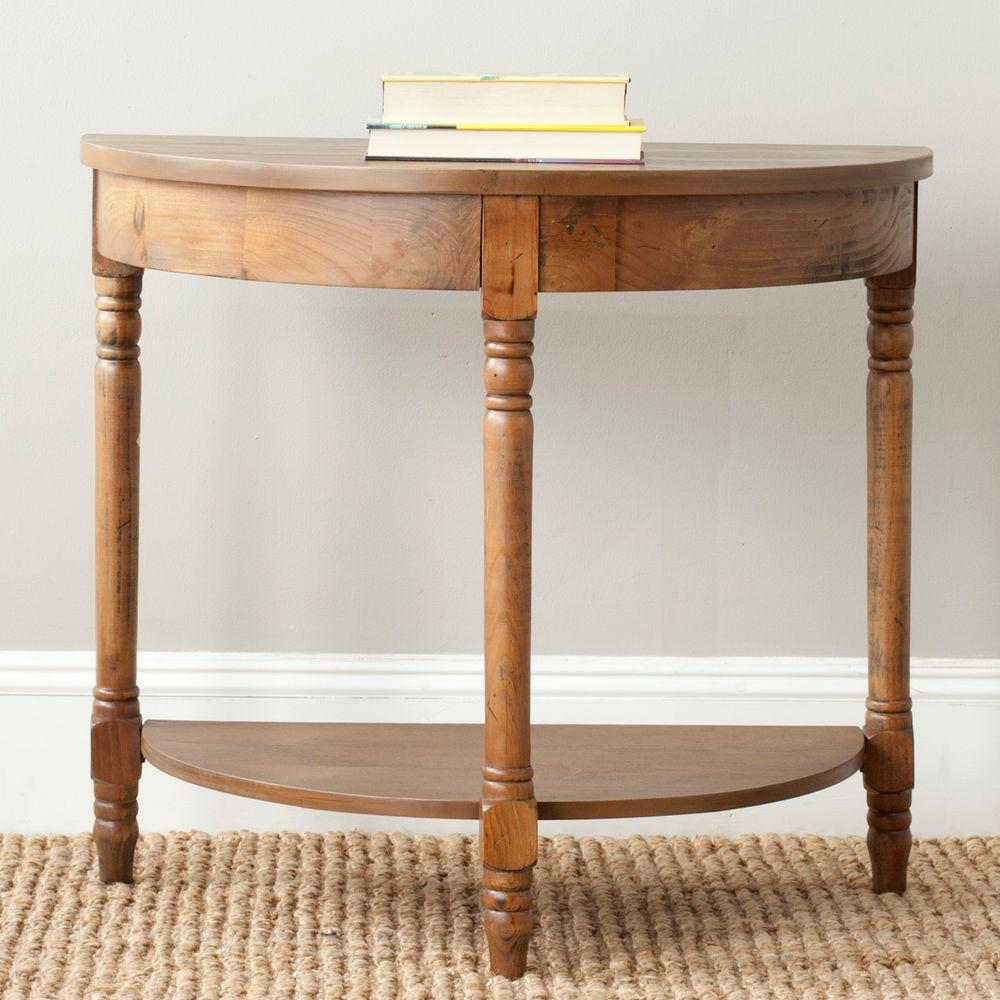 Safavieh Randell 30 In Medium Brown Half Round Wood Console Table With Storage Amh6609e The Home Depot