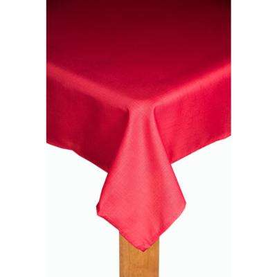 Oxford 70 in. Red Round 100% Polyester Tablecloth