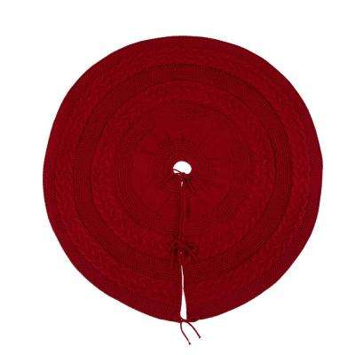 48 in. D Knitted Christmas Tree Skirt in Red