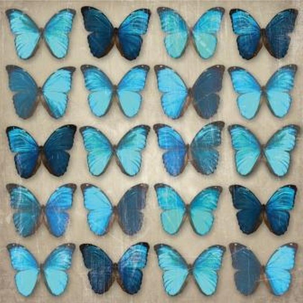 22.8 in. x 22.8 in. x 1.5 in. Teal Butterflies Frameless Wall Art Painted Print