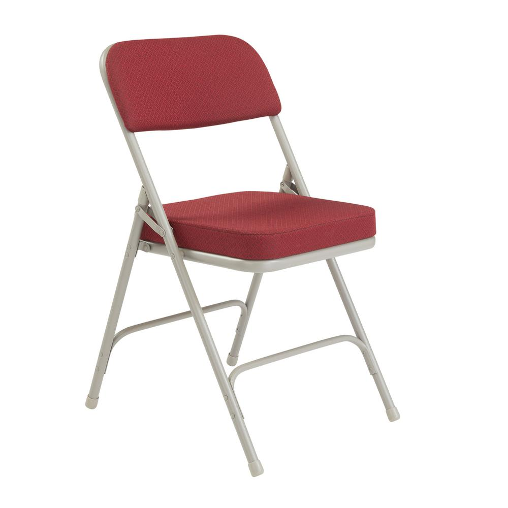 National Public Seating Burgundy Fabric Padded Seat Folding Chair Set Of 2