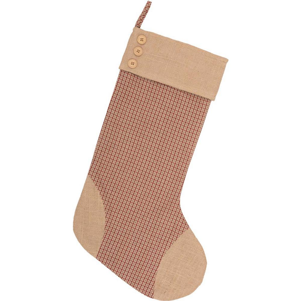 Cotton jute clement deep red rustic christmas decor plaid stocking