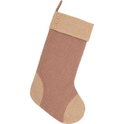 20 in. Cotton/Jute Clement Deep Red Rustic Christmas Decor Plaid Stocking