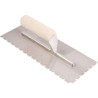 3/16 in. x 1/4 in. x 1/2 in. Flat Top V-Notch Pro Trowel with Wood Handle