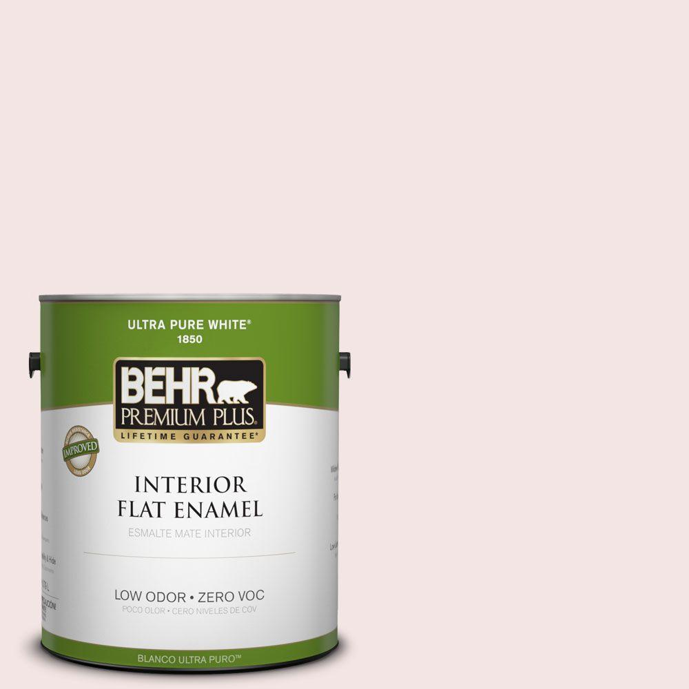 BEHR Premium Plus 1-gal. #170E-1 Reverie Pink Zero VOC Flat Enamel Interior Paint-DISCONTINUED