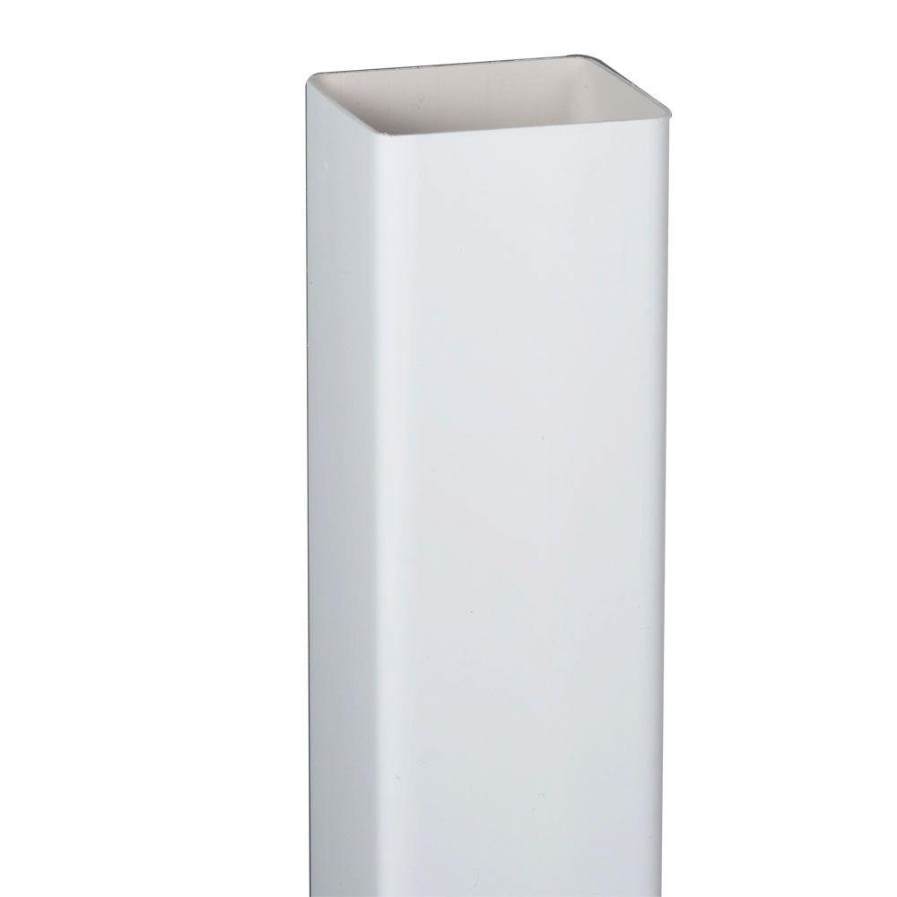 2 in. White Square Vinyl Downspout