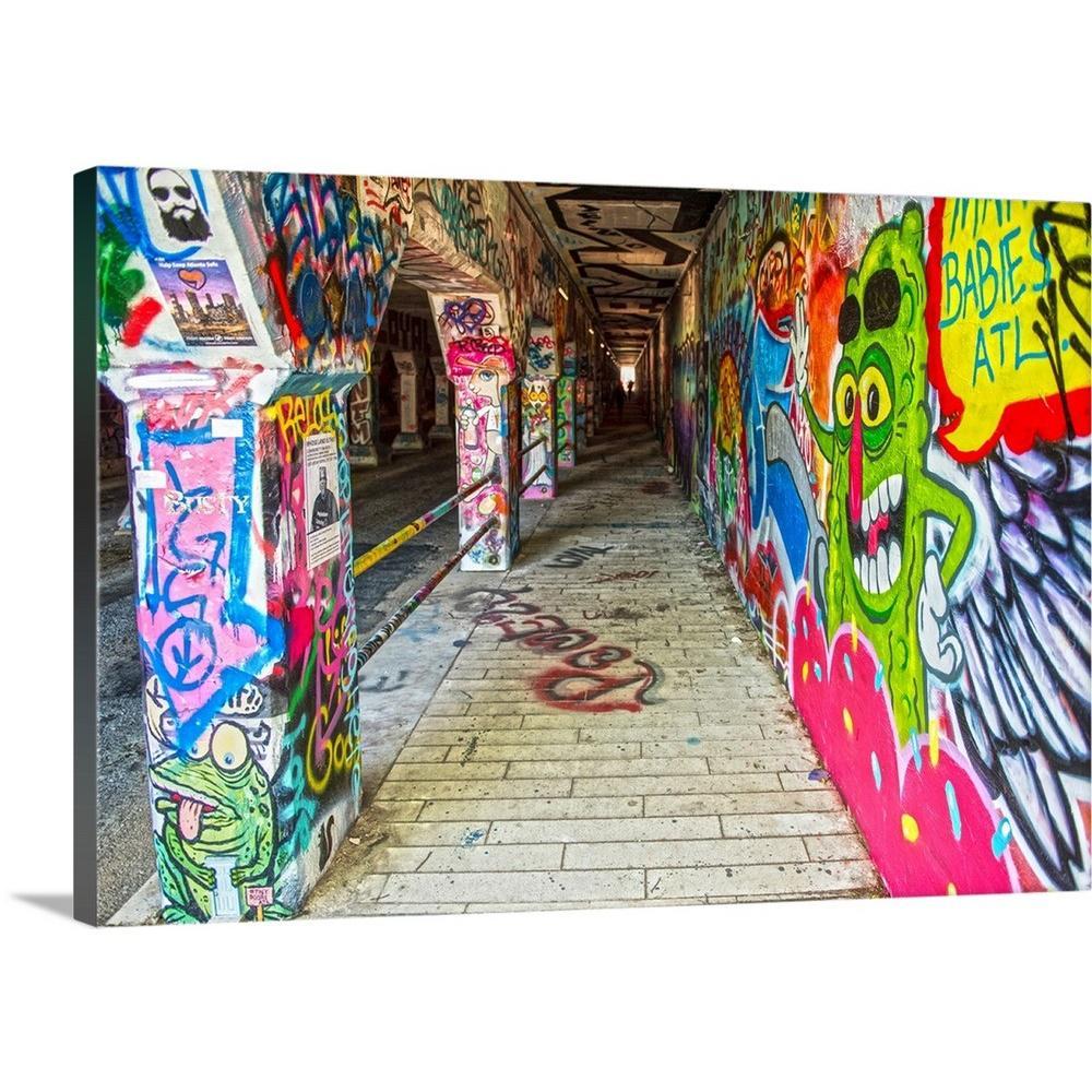 GreatBigCanvas Graffiti Filled Walls Of The Krog Street Tunnel In Atlanta Georgia By Circle Capture Canvas Wall Art 2510059 24 30x20