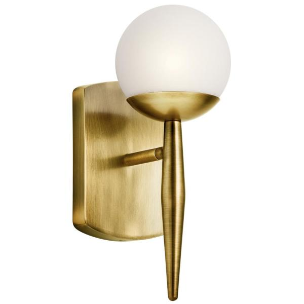 Jasper 1-Light Natural Brass Wall Sconce with Satin Etched Cased Opal Glass Shade