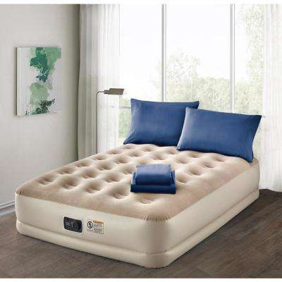 Deluxe 16 in. Queen Air Mattress with Complete Navy Bedding Set