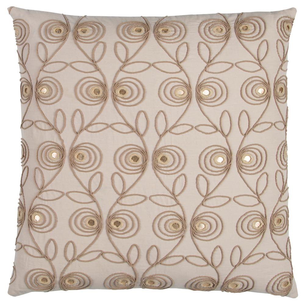 Floral 20 in. x 20 in. Beige Decorative Filled Pillow