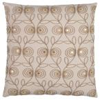 Beige Floral Polyester 20 in. x 20 in. Throw Pillow