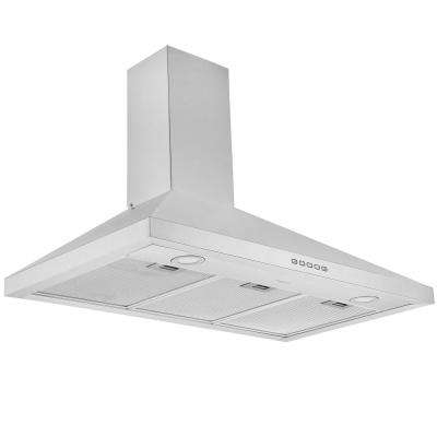 36 in. 440 CFM Convertible Wall Mount Range Hood with LED Lights in Stainless Steel