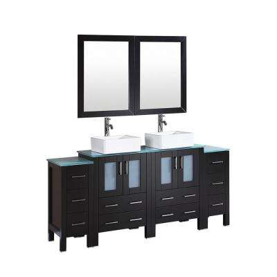 72 in. W Double Bath Vanity in Espresso with  Glass Vanity Top with White Basin and Mirror