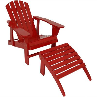 Red Wood Adirondack Chair with Adjustable Back and Ottoman