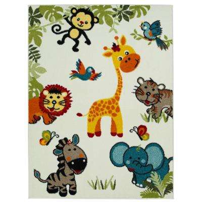 Multi-Color Kids Children and Teen Bedroom Playroom Happy Animal Nursery Friends 5 ft. x 7 ft. Area Rug