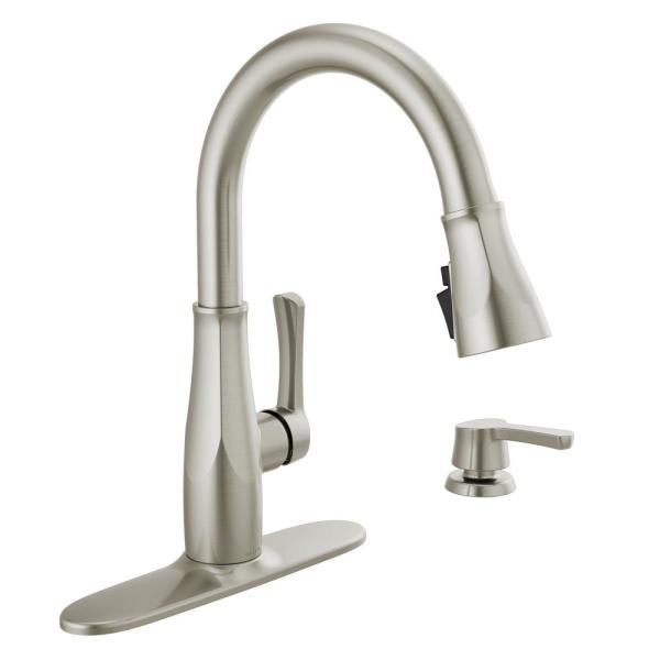 Delta Owendale Single Handle Pull Down Sprayer Kitchen Faucet With Shieldspray Technology In Spotshield Stainless 19875z Spsd Dst The Home Depot
