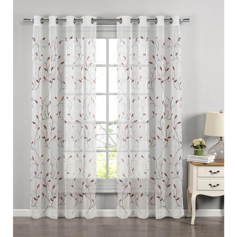 Window Elements Sheer Wavy Leaves Embroidered Rust Grommet Extra Wide Curtain Panel 54 In