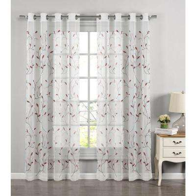 Sheer Wavy Leaves Embroidered Sheer Rust Grommet Extra Wide Curtain Panel, 54 in. W x 84 in. L