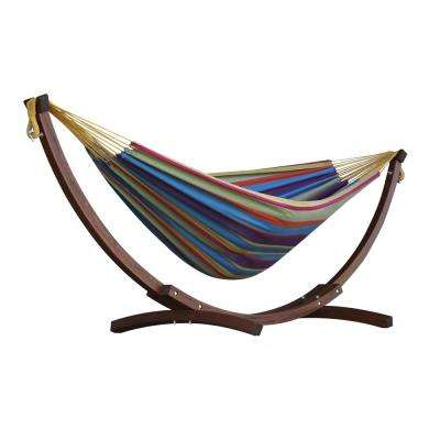 8 ft. Double Cotton Hammock in Tropical with 8 ft. Solid Pine Arc Stand