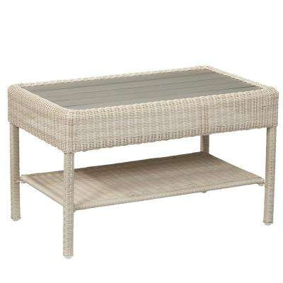 Park Meadows Off-White Wicker Outdoor Coffee Table