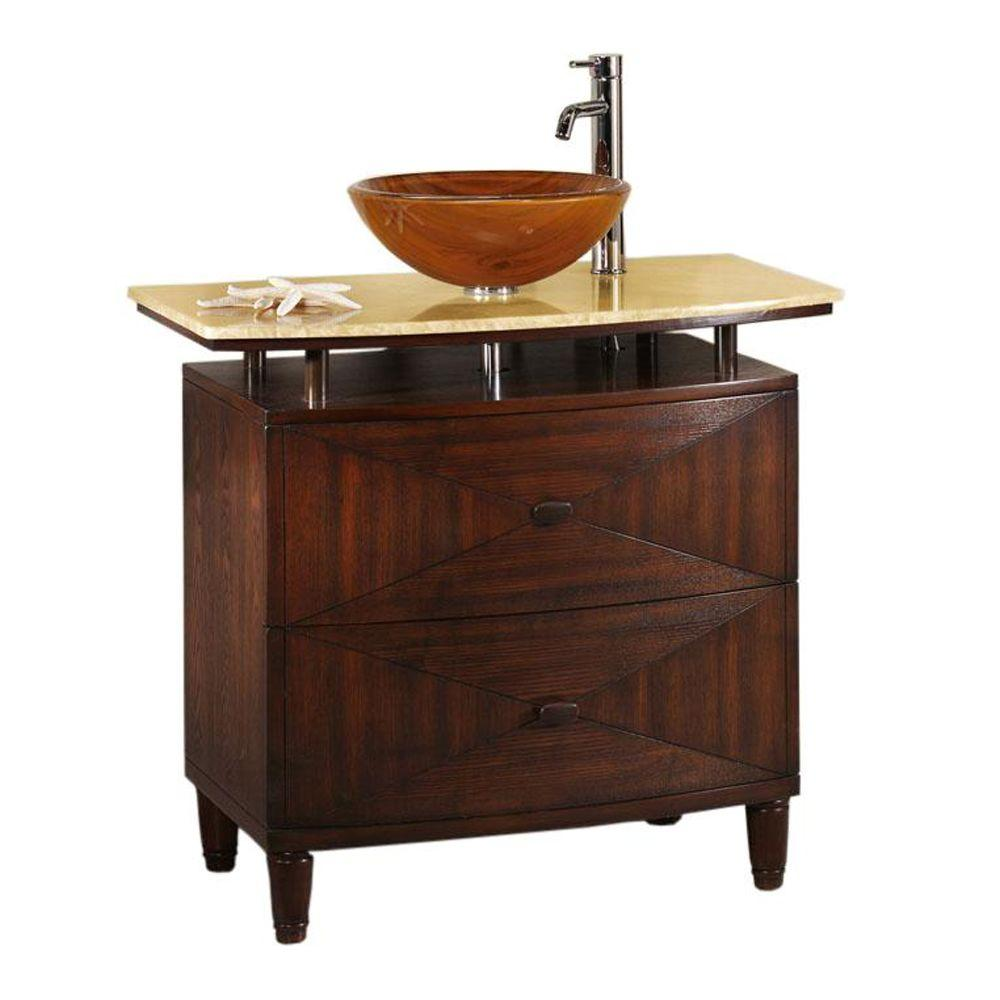 Home Decorators Collection Kyoto 36 in. W x 20.5 in. D Sink Cabinet in Dark Brown with Honey Marble Top