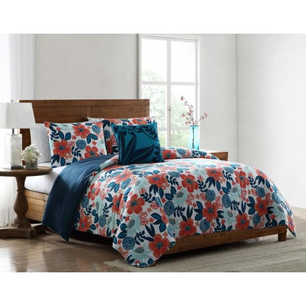 . MHF Home Portia Red and Blue Floral Full Queen Comforter Set