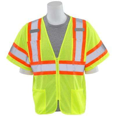 S683P 5X Class 3 Poly Mesh Hi Viz Lime with Contrasting Trim Vest