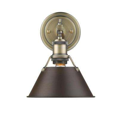 Orwell AB 1-Light Aged Brass Bath Light with Rubbed Bronze Shade