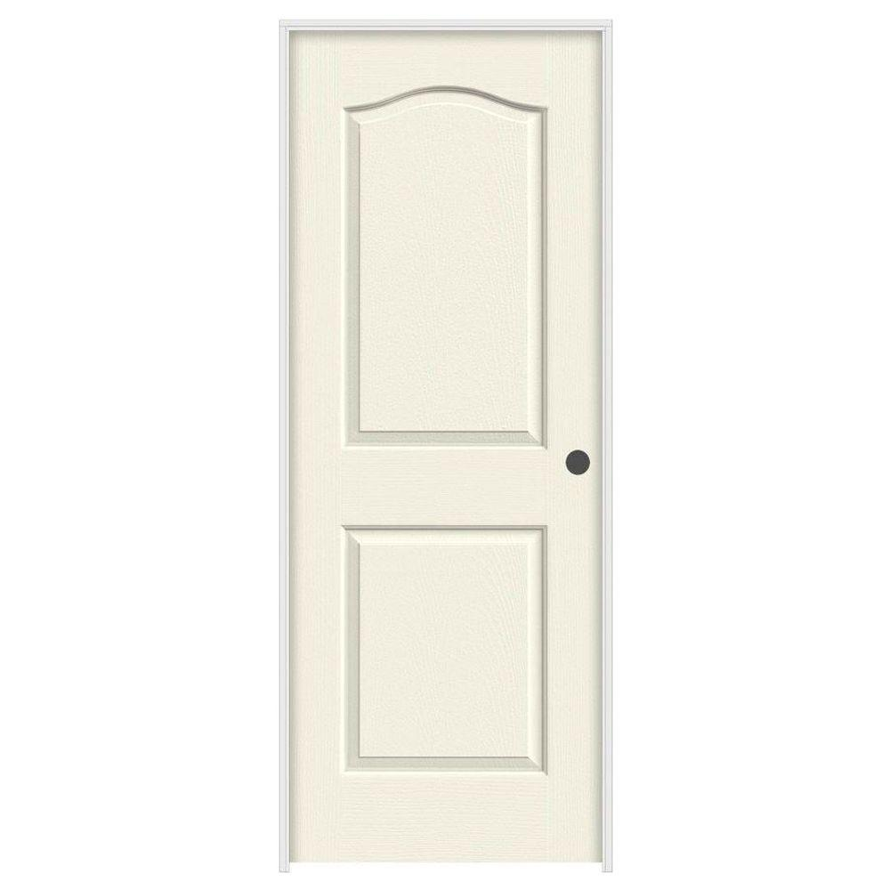 JELD-WEN 28 in. x 80 in. Princeton Vanilla Painted Left-Hand Smooth Molded Composite MDF Single Prehung Interior Door