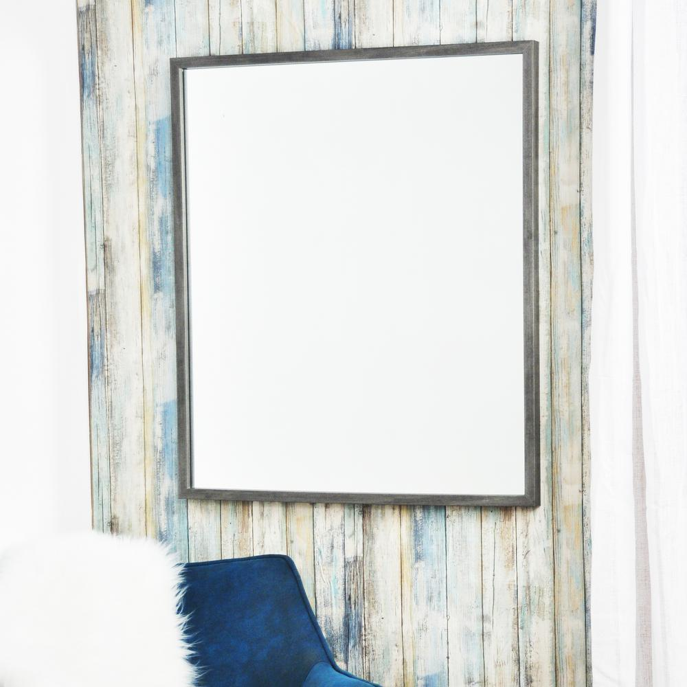 28 in. x 32 in. Minimal Rectangle Slate Gray Wall Mirror