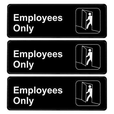 9 in. x 3 in. Employees Only Sign (6-Pack)