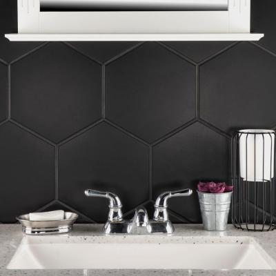 Textile Hex Black 8-5/8 in. x 9-7/8 in. Porcelain Floor and Wall Tile (11.56 sq. ft. / case)
