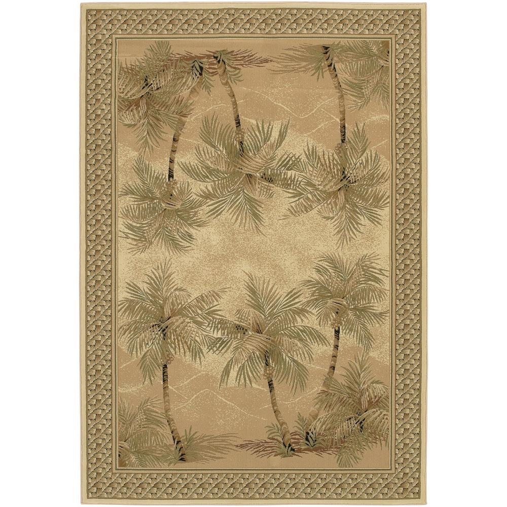 Couristan Everest Palm Tree Desert Sand 4 ft. x 5 ft. Area Rug