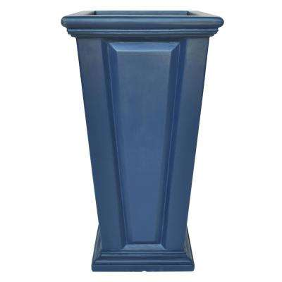27 in. H Neptune Blue Composite Tall Tapered Raised Panel Planter