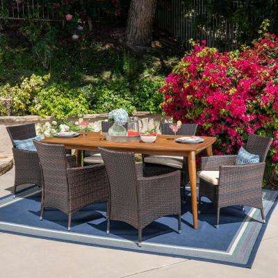Charlie 7-Piece Wood and Wicker Outdoor Dining Set with Beige Cushion