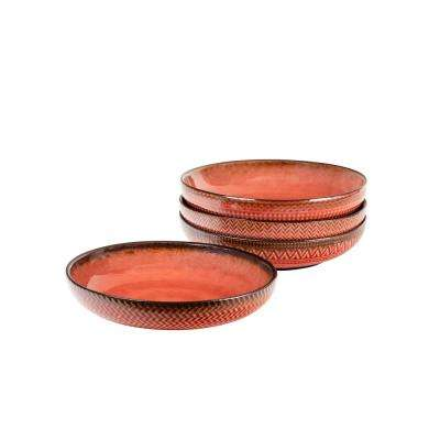 Glyph Red Dinner Bowls (Set of 4)