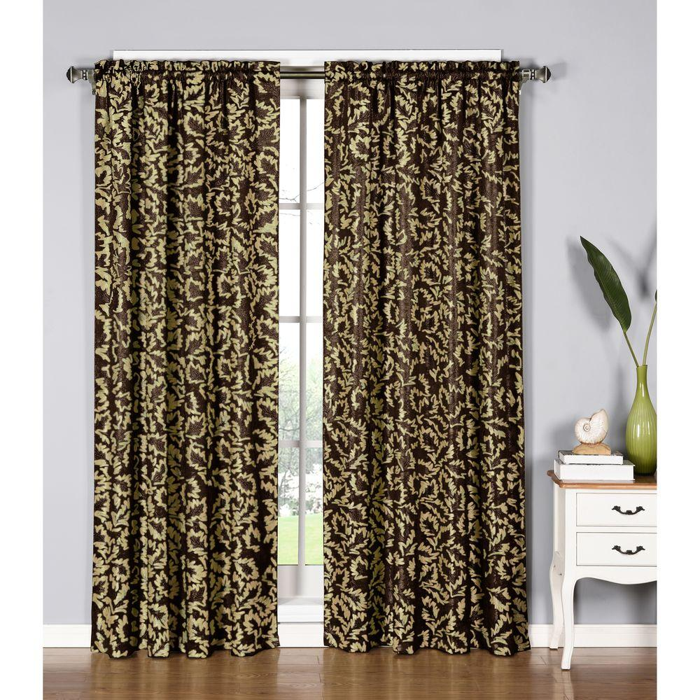 Window Elements Semi Opaque Dawson Shimmering Leaf 54 In W X 84 L Rod Pocket Extra Wide Curtain Panel Chocolate