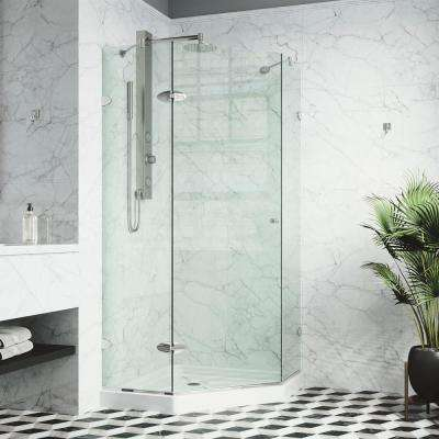 Verona 40.25 in. x 76.75 in. Frameless Neo-Angle Shower Door in Chrome with Clear Glass and Low Profile Base