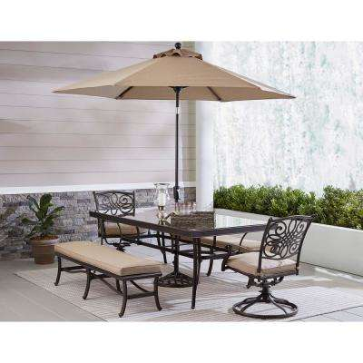 Hanover Patio Traditions Bronze 5-Piece Aluminum Rectangular Outdoor Dining Set with Tan Cushions and Umbrella Stand