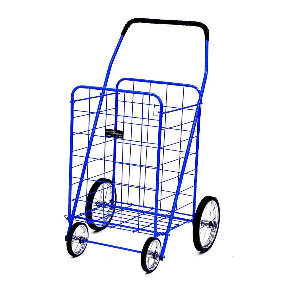 Easy Wheels Jumbo Shopping Cart in Blue The Easy Wheels Jumbo Shopping Cart has been the industry's premier cart with industrial strength for home use. When lying down, with the cart folded, the highest measurement is the wheels with a 9.75 in. Dia giving an incredible amount of convenience in a compact size. It comes with over 20 years of refinements and reliability. Color: Blue.