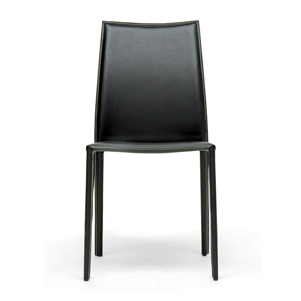 Dining Chairs Set Of 2 White Black Faux Leather Ultra: Baxton Studio Rockford Black Faux Leather Upholstered