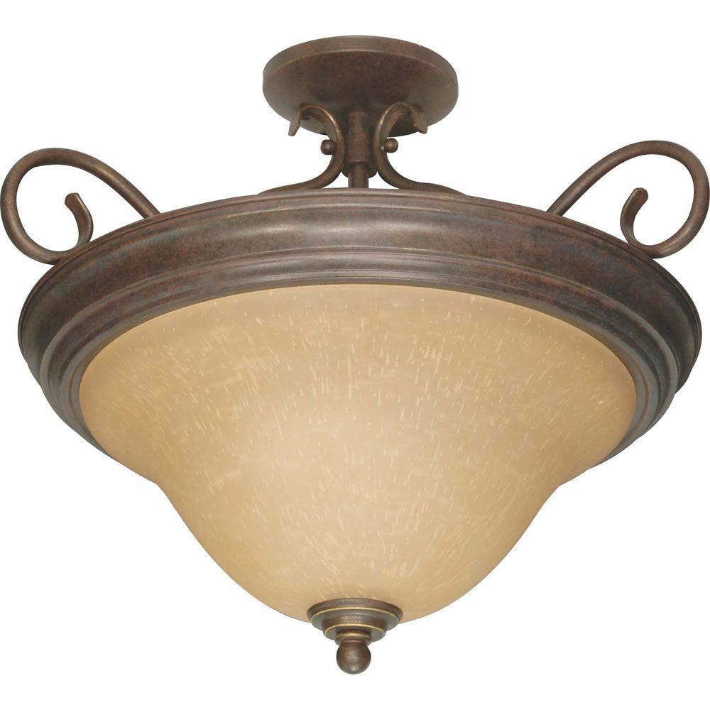 Adria Concord 3-Light Bronze Semi-Flushmount Light