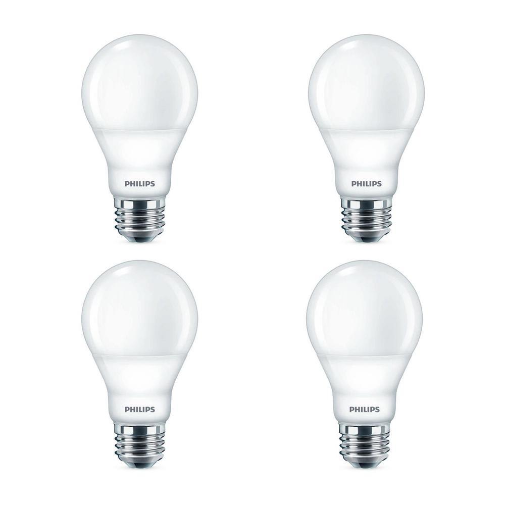 Philips 60-Watt Equivalent A19 Dimmable Energy Saving LED Light Bulb Daylight (5000K) (4-Pack)