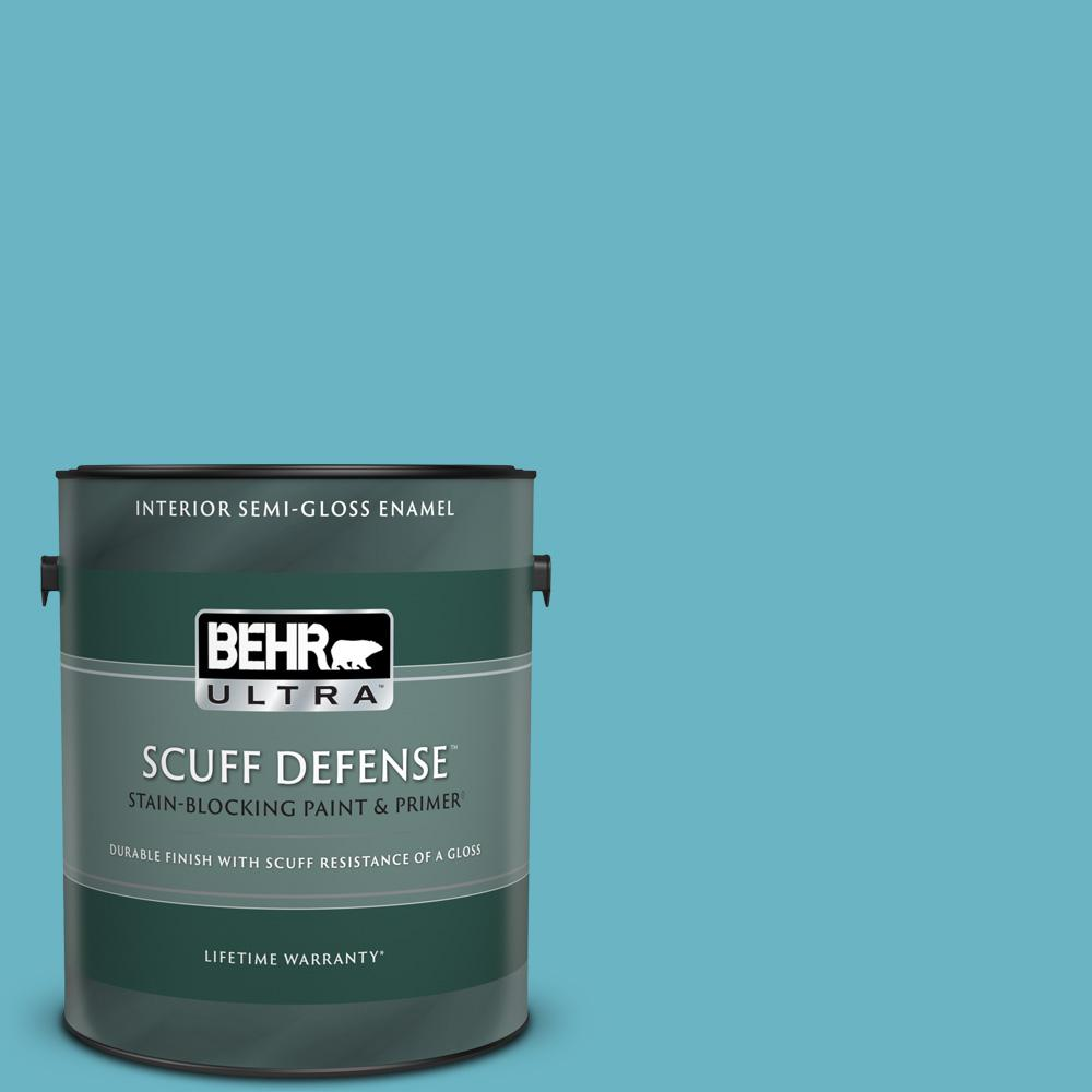 Reviews For Behr Ultra 1 Gal 530d 5 Riverside Blue Extra Durable Semi Gloss Enamel Interior Paint Primer 375401 The Home Depot