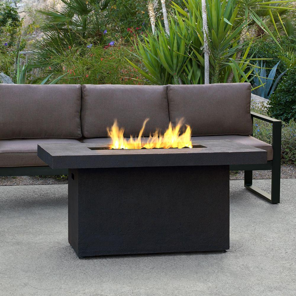 Tabletop design fire pits outdoor heating the home depot ventura 50 in fiber concret rectangle chat height propane gas fire pit geotapseo Image collections