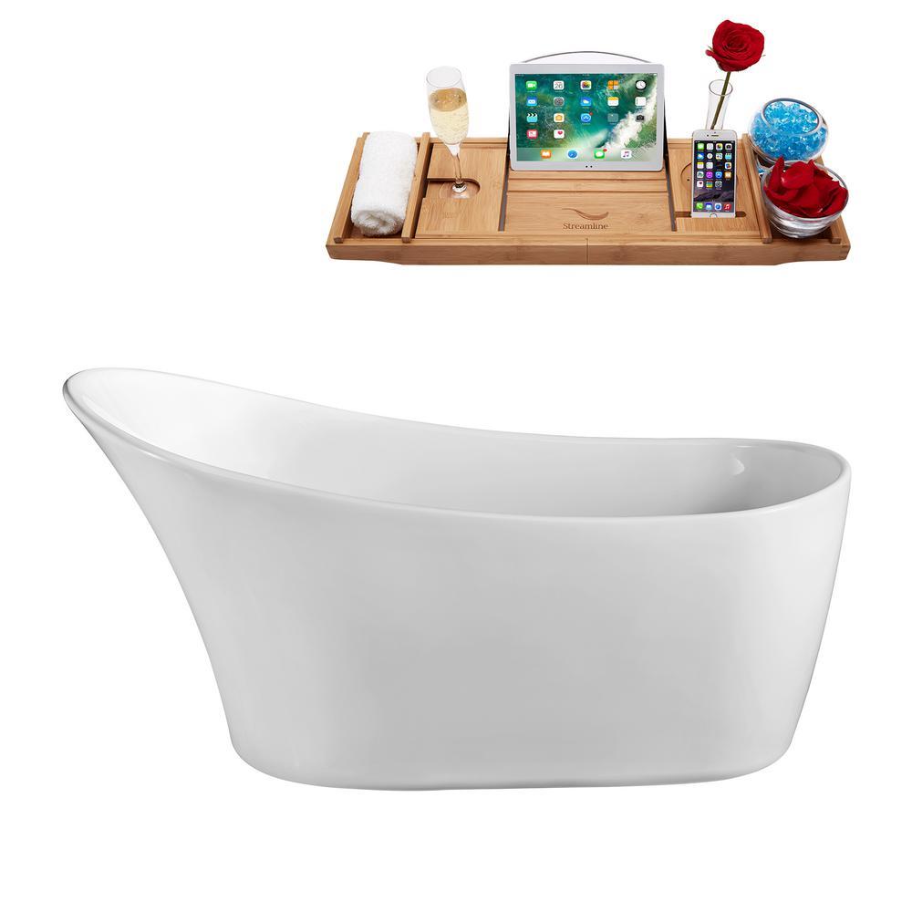 59.1 in. Acrylic Flatbottom Non-Whirlpool Bathtub in White