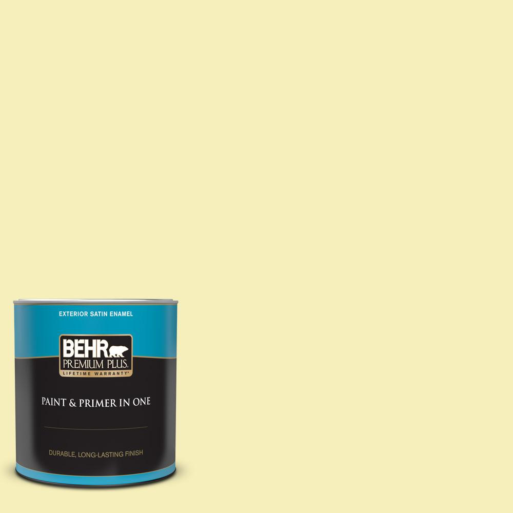 Behr Premium Plus 1 Qt 400a 2 Summer Resort Satin Enamel Exterior Paint And Primer In One 905004 The Home Depot