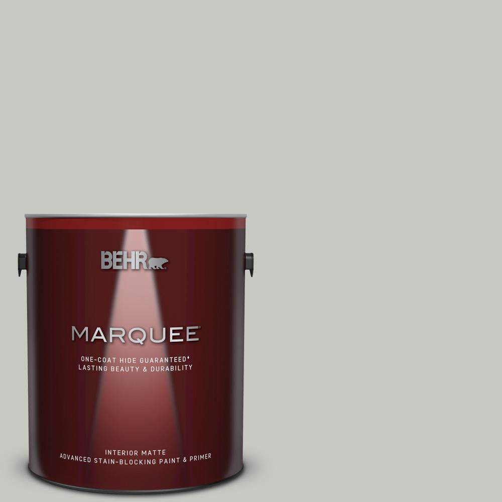 BEHR MARQUEE 1 gal. #MQ2-59 Silver City One-Coat Hide Matte Interior Paint and Primer in One